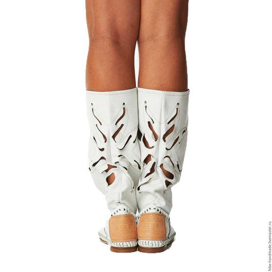Обувь ручной работы. Ярмарка Мастеров - ручная работа. Купить Летние итальянские сапоги FIORE /белые/35 размер в наличие/. Handmade.