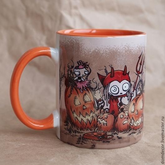 """Кружки и чашки ручной работы. Ярмарка Мастеров - ручная работа. Купить Чашка """"Ленор, хэллоуин"""". Handmade. Оранжевый, Ленор"""