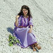 Длинное платье Авиньон в мелкий цветочек из хлопка и батиста