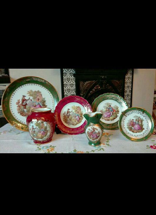 Винтажная посуда. Ярмарка Мастеров - ручная работа. Купить В наличии зеленые  предметы Лимож Limoges. Handmade. Лимож, фарфор