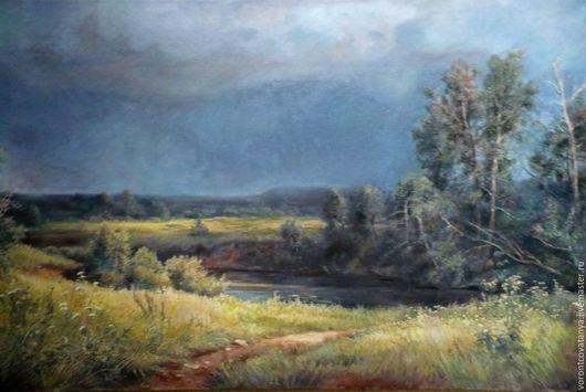 """Пейзаж ручной работы. Ярмарка Мастеров - ручная работа. Купить """"Перед дождём"""". Handmade. Хаки, картина, живопись маслом"""