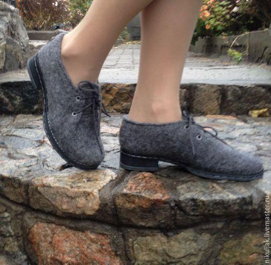 Обувь ручной работы. Ярмарка Мастеров - ручная работа. Купить Туфли валяные Grey. Handmade. Серый, валяная обувь