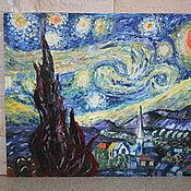 """Картины и панно ручной работы. Ярмарка Мастеров - ручная работа картина Ван Гога """"Звездная ночь. Handmade."""