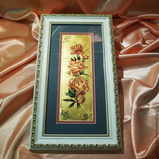 Картины цветов ручной работы. Ярмарка Мастеров - ручная работа. Купить Картина на сусальном золоте Пион. Handmade. Золотой