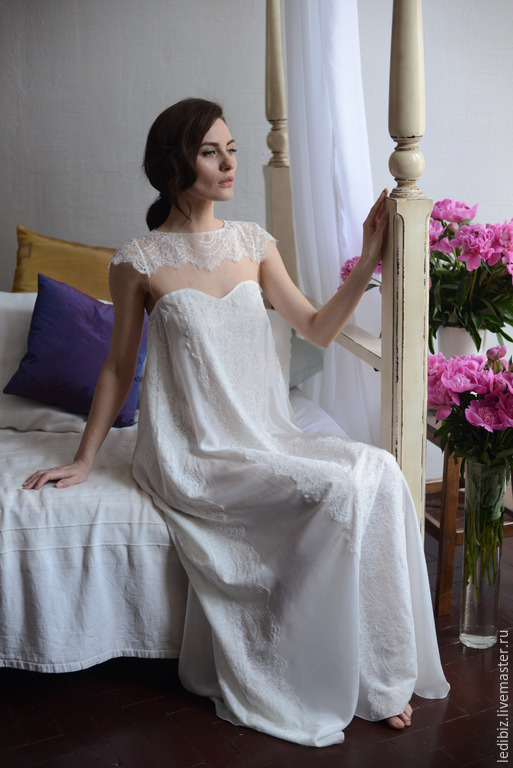 Long Silk Bridal Nightgown With Lace F2, Bridal Lingerie, Wedding ...