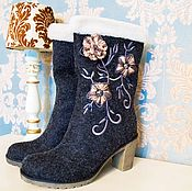 """Обувь ручной работы. Ярмарка Мастеров - ручная работа """"Зимняя сказка"""" серые. Handmade."""