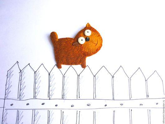 брошь `кот Карамелькин`