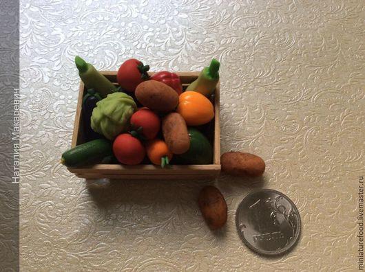 Кукольная еда.Фото еды для кукол. Миниатюра ручной работы 1:12 и 1:6. Ручная работа на Ярмарке Мастеров. Фото кукольного ящика. Ящик с овощами маленький