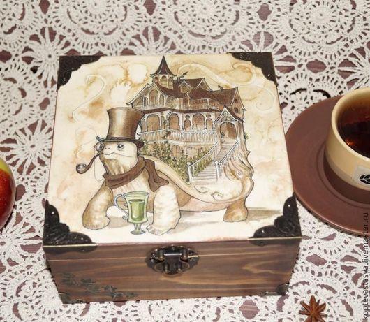 """Корзины, коробы ручной работы. Ярмарка Мастеров - ручная работа. Купить Чайная Шкатулка """"EARL GREY"""". Handmade. Коричневый"""