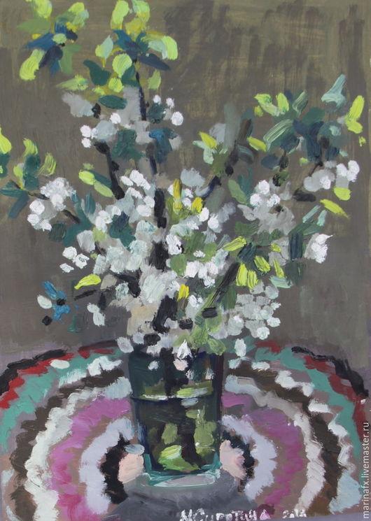 Картины цветов ручной работы. Ярмарка Мастеров - ручная работа. Купить Ветка цветущей вишни. Handmade. Комбинированный, май, весна