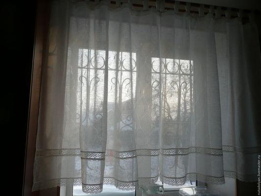"""Текстиль, ковры ручной работы. Ярмарка Мастеров - ручная работа. Купить Тюль льняной """" Морозное утро"""". Handmade. Белый"""