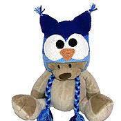 """Работы для детей, ручной работы. Ярмарка Мастеров - ручная работа шапочка """"Совушка"""" (шапка теплая зимняя вязаная с ушками)синий. Handmade."""