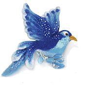 Brooches handmade. Livemaster - original item Blue bird of happiness and good luck. Felted brooch. Handmade.