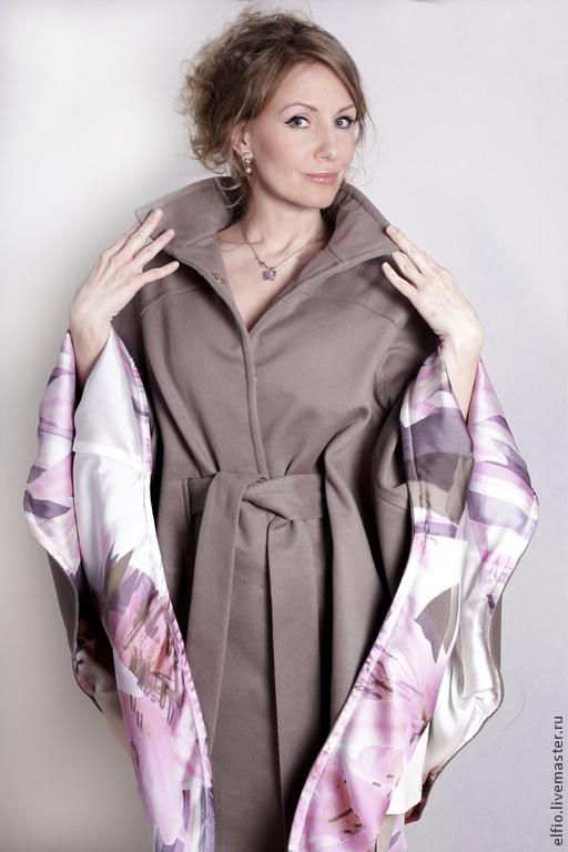 Пончо ручной работы. Ярмарка Мастеров - ручная работа. Купить Пальто пончо из легкой шерсти цвета какао. Handmade. Брусничный