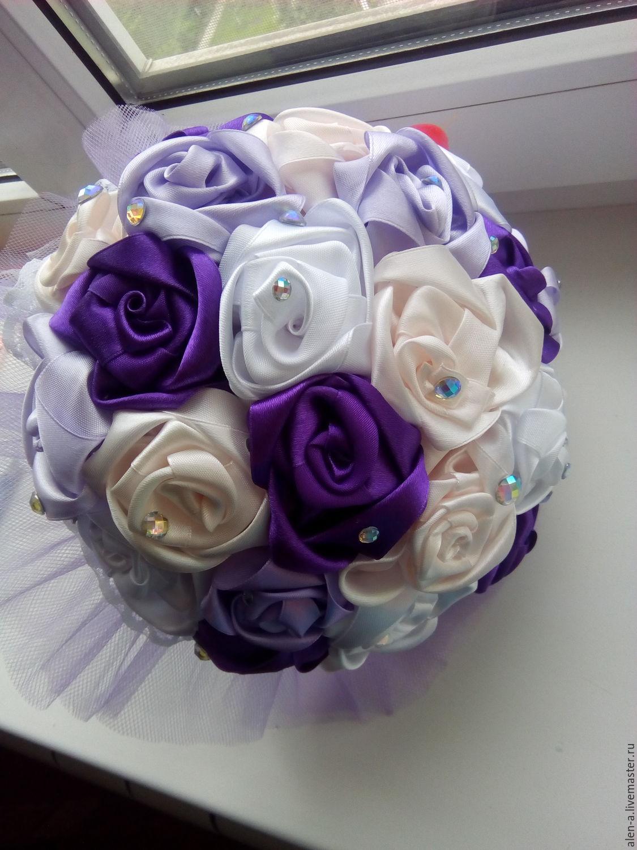 Цветы, букет для гостей невесты из атласных лент фото
