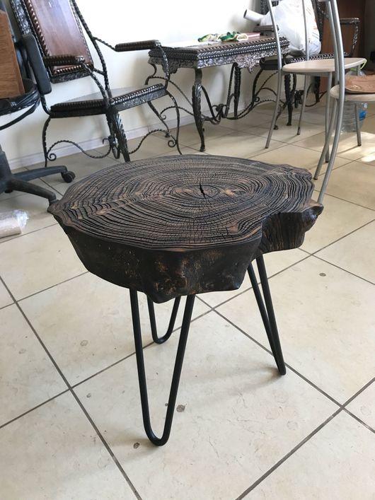 Мебель ручной работы. Ярмарка Мастеров - ручная работа. Купить Столик из спила карагача с глубокой брощюровкой. Handmade. Стол