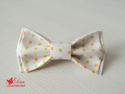 Галстуки, бабочки ручной работы. Ярмарка Мастеров - ручная работа. Купить Бабочка галстук белая в горошек, хлопок. Handmade. Белый