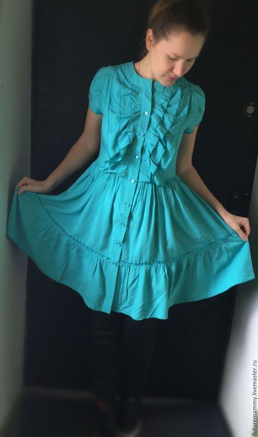 Для будущих и молодых мам ручной работы. Ярмарка Мастеров - ручная работа. Купить Платье для кормящих мам бирюза 48р. Handmade.