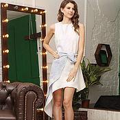 handmade. Livemaster - original item Asymmetrical blue and white dress with peplum. Handmade.