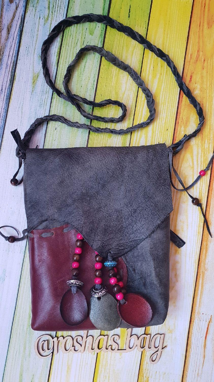 Женские сумки ручной работы. Ярмарка Мастеров - ручная работа. Купить Сумка кросс боди через плечо бохо стиле из натуральной серой кожи. Handmade.