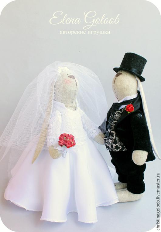 Куклы Тильды ручной работы. Ярмарка Мастеров - ручная работа. Купить Свадебная пара зайчиков. Handmade. Чёрно-белый