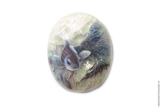 Роспись по камню ручной работы. Ярмарка Мастеров - ручная работа. Купить Рыбка на флюорите. Handmade. Рыбка, живопись на камне, синий