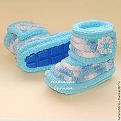 Работы для детей, handmade. Livemaster - original item Boots plush booties, knitted booties, blue color. Handmade.