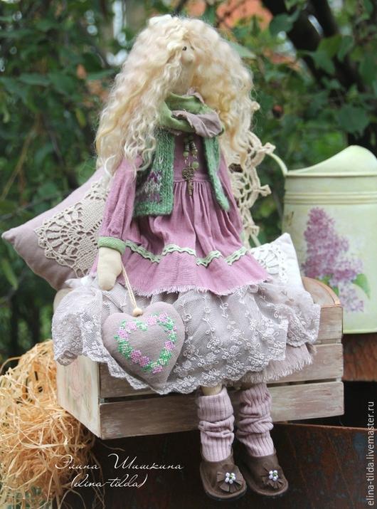 Куклы Тильды ручной работы. Ярмарка Мастеров - ручная работа. Купить Виолетта, барышня в лиловом.. Handmade. Брусничный, тильда