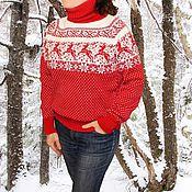 Подарки к праздникам ручной работы. Ярмарка Мастеров - ручная работа Норвежский свитер с оленями шерсть красный. Handmade.