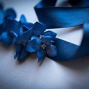 Свадебный салон ручной работы. Ярмарка Мастеров - ручная работа Пояс с гортензией цвета ультрамарин. Handmade.