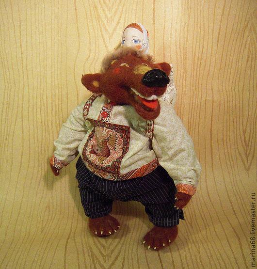 Сказочные персонажи ручной работы. Ярмарка Мастеров - ручная работа. Купить маша и медведь. Handmade. Коричневый, Маша и медведь, овчина