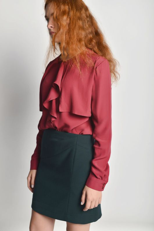 Блузки ручной работы. Ярмарка Мастеров - ручная работа. Купить Блузка с воланом. Handmade. Бордовый, блузка из крепа, воланы