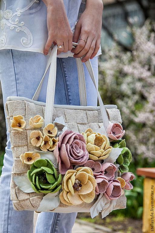Женские сумки ручной работы. Ярмарка Мастеров - ручная работа. Купить Fleurs.... Handmade. Белый, оригинальный подарок, цветы из шерсти