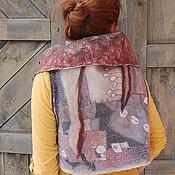 """Одежда ручной работы. Ярмарка Мастеров - ручная работа Жилет-трансформер из войлока""""Хочу в Африку!"""", шелковая мозаика. Handmade."""