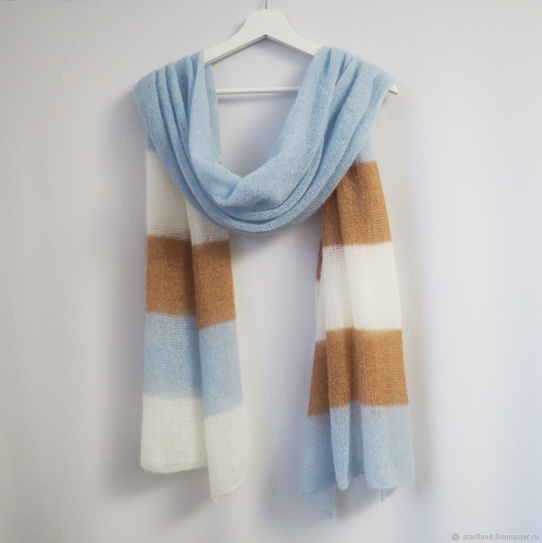 kid mohair colorblock scarf, Scarves, Cheboksary,  Фото №1