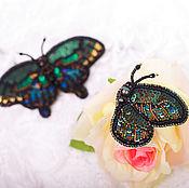 """Украшения ручной работы. Ярмарка Мастеров - ручная работа Брошь из бисера """"Зеленые бабочки"""". Handmade."""