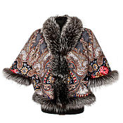 "Одежда handmade. Livemaster - original item Cape-avtoledi of Pavlovo Posad shawl ""The Butterfly`s Dream"". Handmade."