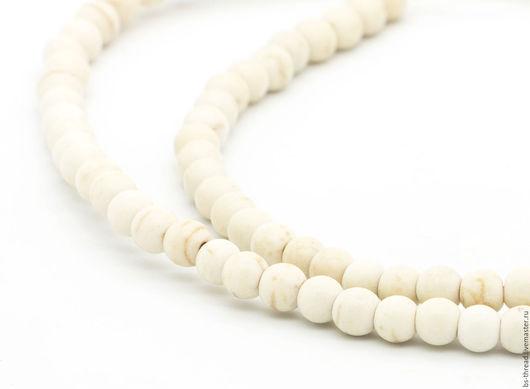 Для украшений ручной работы. Ярмарка Мастеров - ручная работа. Купить Коралл белый бусины шар 4.5х4мм - арт.6-17. Handmade.