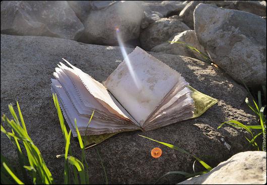"""Блокноты ручной работы. Ярмарка Мастеров - ручная работа. Купить Блокнот из замши. """"Теплый денёк"""". Handmade. Оливковый, натуральный хлопок"""