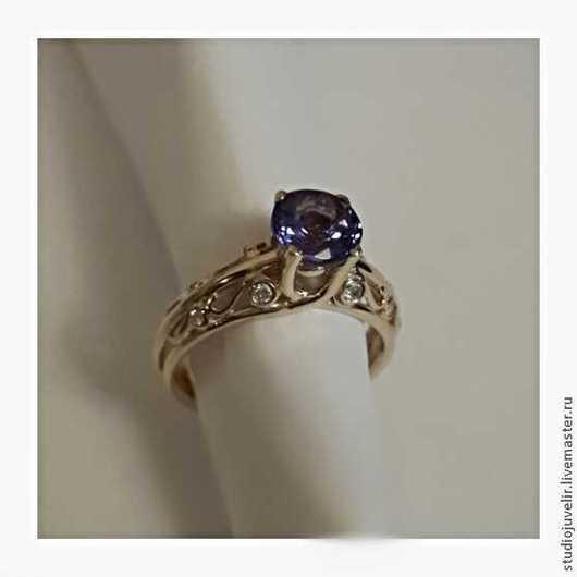 Кольца ручной работы. Ярмарка Мастеров - ручная работа. Купить Золотое кольцо с бриллиантами и танзанитом. Handmade. Синий, бриллианты