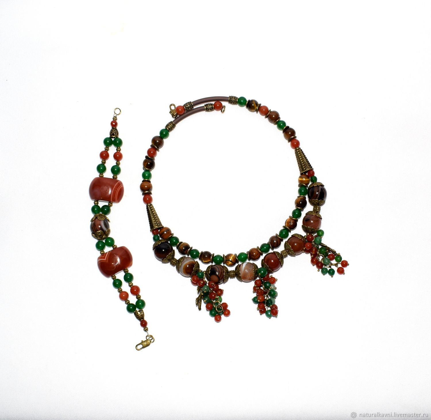 Necklace and bracelet made of natural stones (sardonyx, carnelian..), Jewelry Sets, Moscow,  Фото №1
