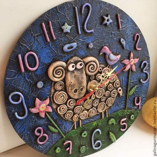 """Часы для дома ручной работы. Ярмарка Мастеров - ручная работа. Купить Часы """"Барашек"""". Handmade. Часы настенные, ручная работа"""
