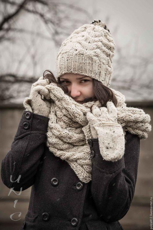 Белый, молочный, ванильный, шапка вязаная, шапка женская, шарф вязаный, варежки, комплект шапка шарф, вязаный комплект, снуд, шапка и шарф вязаные, шапка и снуд вязаные, купить комплект шапка шарф