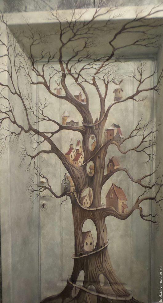 Декор поверхностей ручной работы. Ярмарка Мастеров - ручная работа. Купить Роспись входной двери двери Дерево. Handmade. Комбинированный
