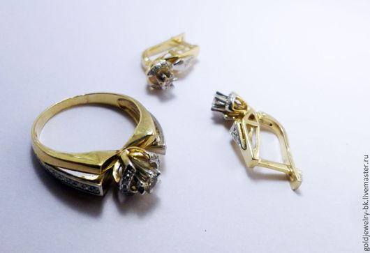 Комплекты украшений ручной работы. Ярмарка Мастеров - ручная работа. Купить Комплект Золотое бриллиантовое кольцо серьги 585 пробы №3. Handmade.