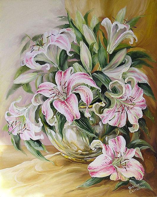Картины цветов ручной работы. Ярмарка Мастеров - ручная работа. Купить Лилии. Handmade. Цветы, лилии, букет, золотой