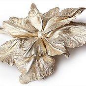Украшения ручной работы. Ярмарка Мастеров - ручная работа Брошь орхидея из золотой кожи. Handmade.