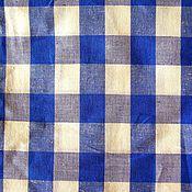 Для дома и интерьера ручной работы. Ярмарка Мастеров - ручная работа Шторы на кухню , дачу льняные в клетку сине белую. Handmade.