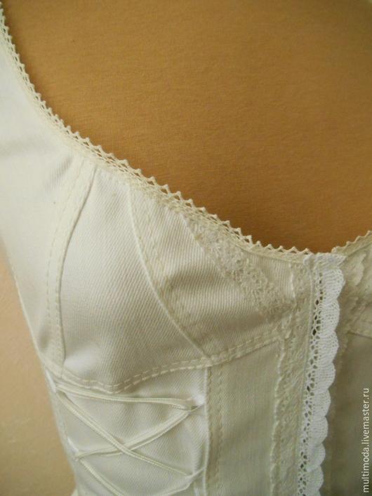 Блузки ручной работы. Ярмарка Мастеров - ручная работа. Купить Белая джинсовая блузка-корсет. Handmade. Белый, бохо-стиль