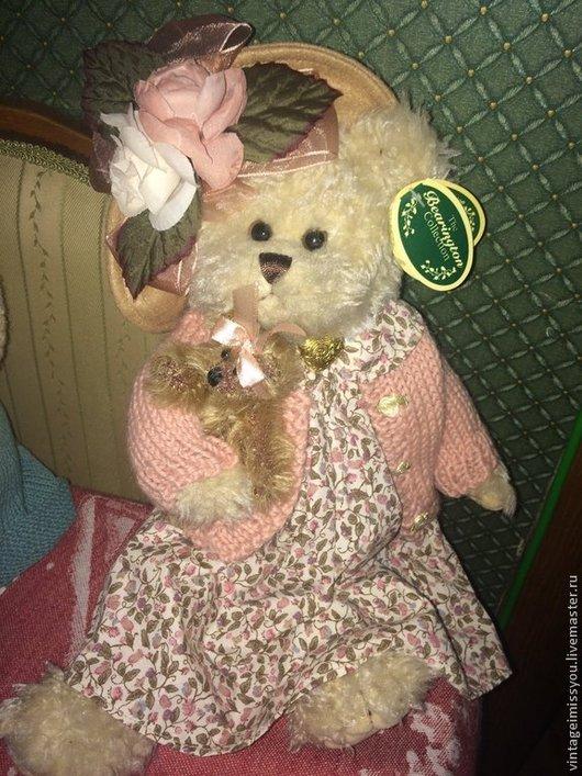 Винтажные куклы и игрушки. Ярмарка Мастеров - ручная работа. Купить Мишка Незабудка с собачкой. Handmade. Розовый